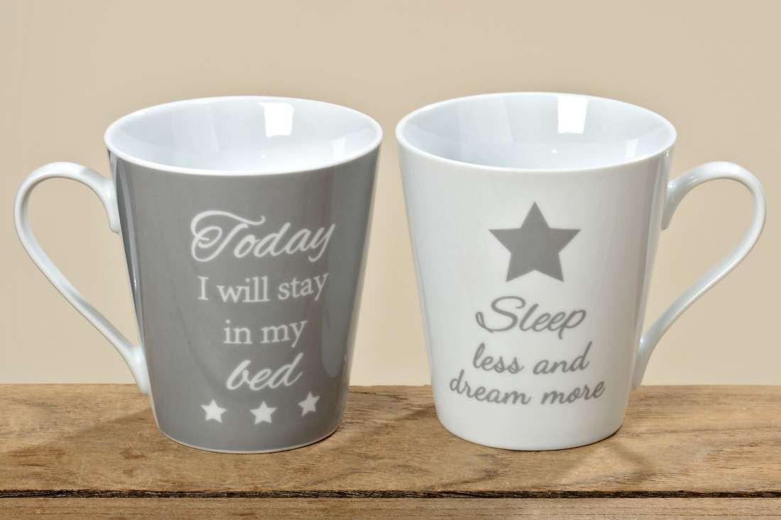 porzellan tasse star kaffeebecher teetasse landhausstil grau weiss 2er set ebay. Black Bedroom Furniture Sets. Home Design Ideas