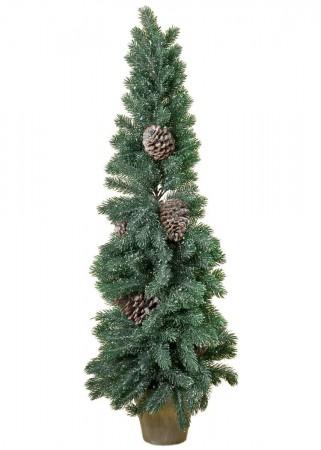 tannenbaum mit zapfen weihnachtsbaum kunststoff christbaum im topf h 100cm ebay. Black Bedroom Furniture Sets. Home Design Ideas