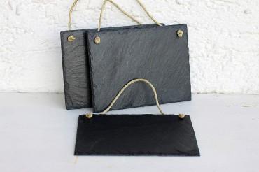 schiefertafel mit kordel zum selber beschriften 20x15 wandbild schild 3er set ebay. Black Bedroom Furniture Sets. Home Design Ideas