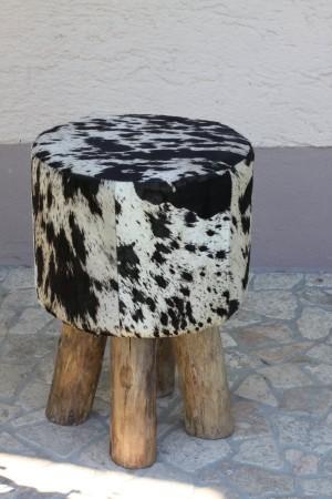 sitzhocker kuhfell holz stierfell hocker flint sitz polster rund schwarz weiss ebay. Black Bedroom Furniture Sets. Home Design Ideas