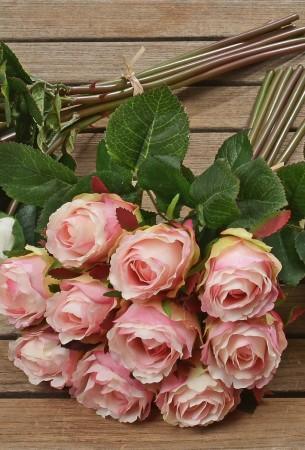 rosenstrau rosenbouquet aus kunststoff 10tlg deko strau in rosa ebay. Black Bedroom Furniture Sets. Home Design Ideas