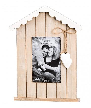 holz bilderrahmen haus mit holzherz in braun wei fotorahmen landhausstil ebay. Black Bedroom Furniture Sets. Home Design Ideas
