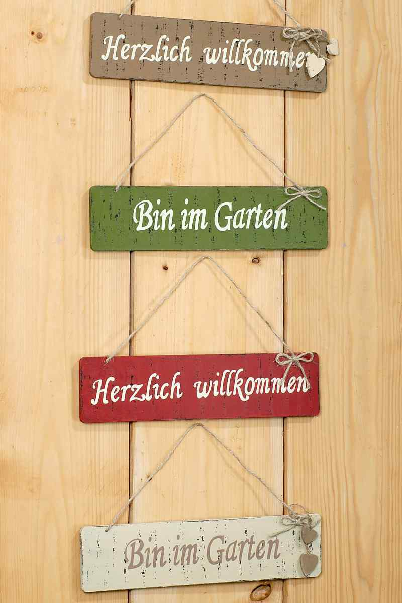 holzschild bin im garten willkommen t rschild schild mit kordel. Black Bedroom Furniture Sets. Home Design Ideas