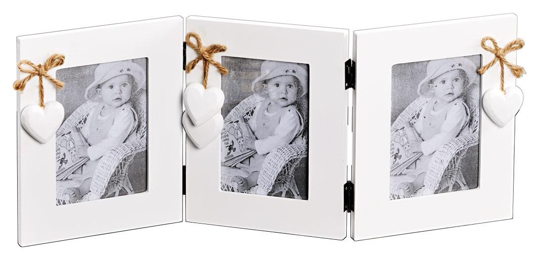 3 fach bilderrahmen wei mit herz und herzanh nger aus holz fotorahmen. Black Bedroom Furniture Sets. Home Design Ideas