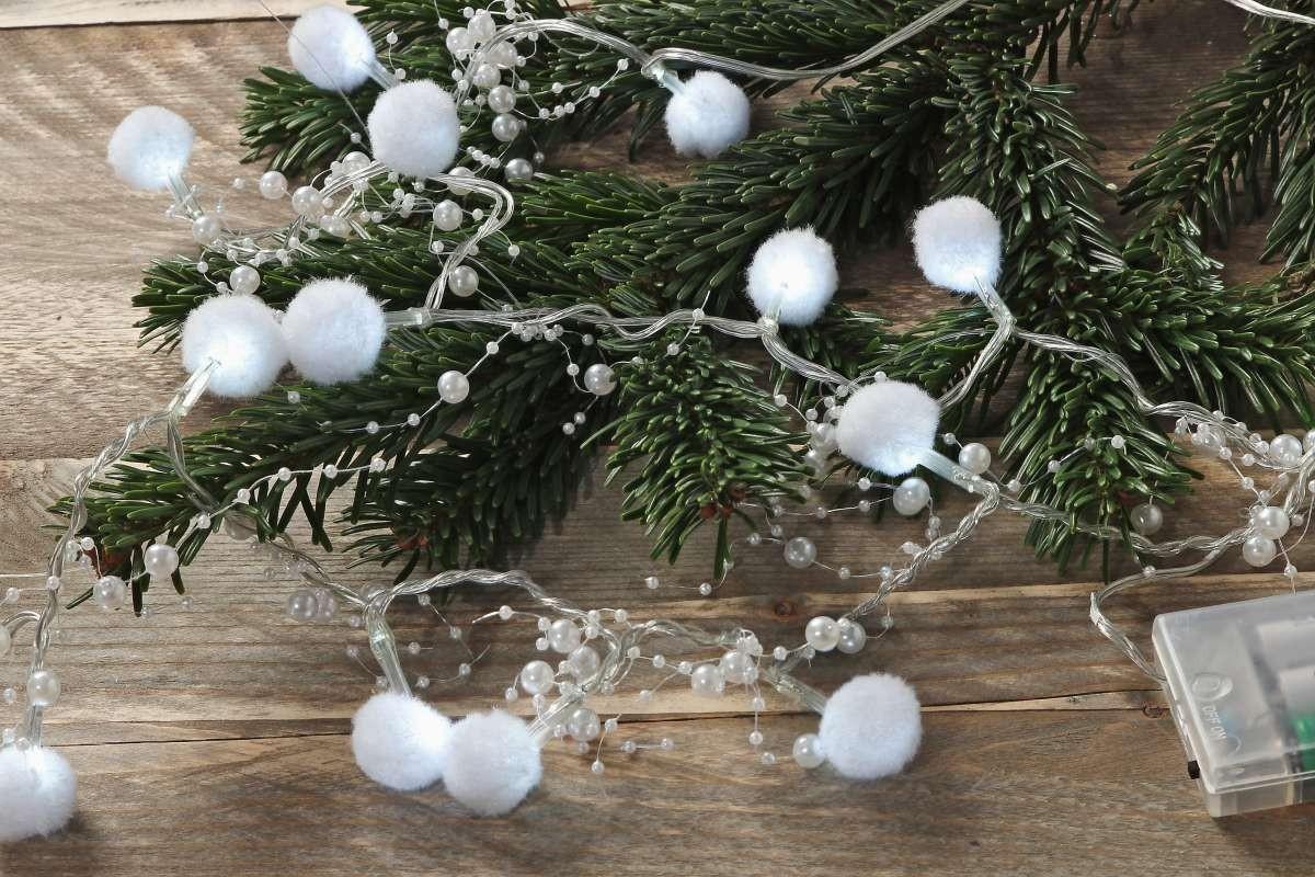 deko weihnachts lichterkette mit perlen und 15 lichter in. Black Bedroom Furniture Sets. Home Design Ideas