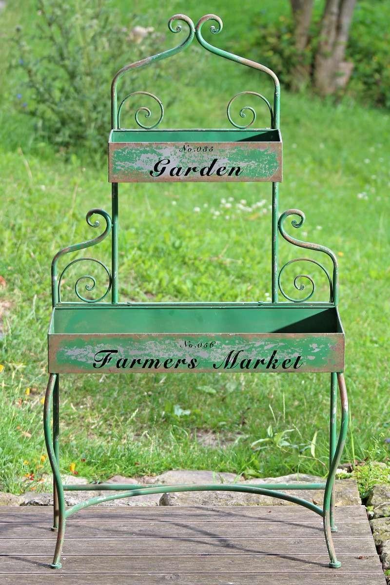 pflanztisch garden gartentisch im shabby vintage look aus eisen. Black Bedroom Furniture Sets. Home Design Ideas