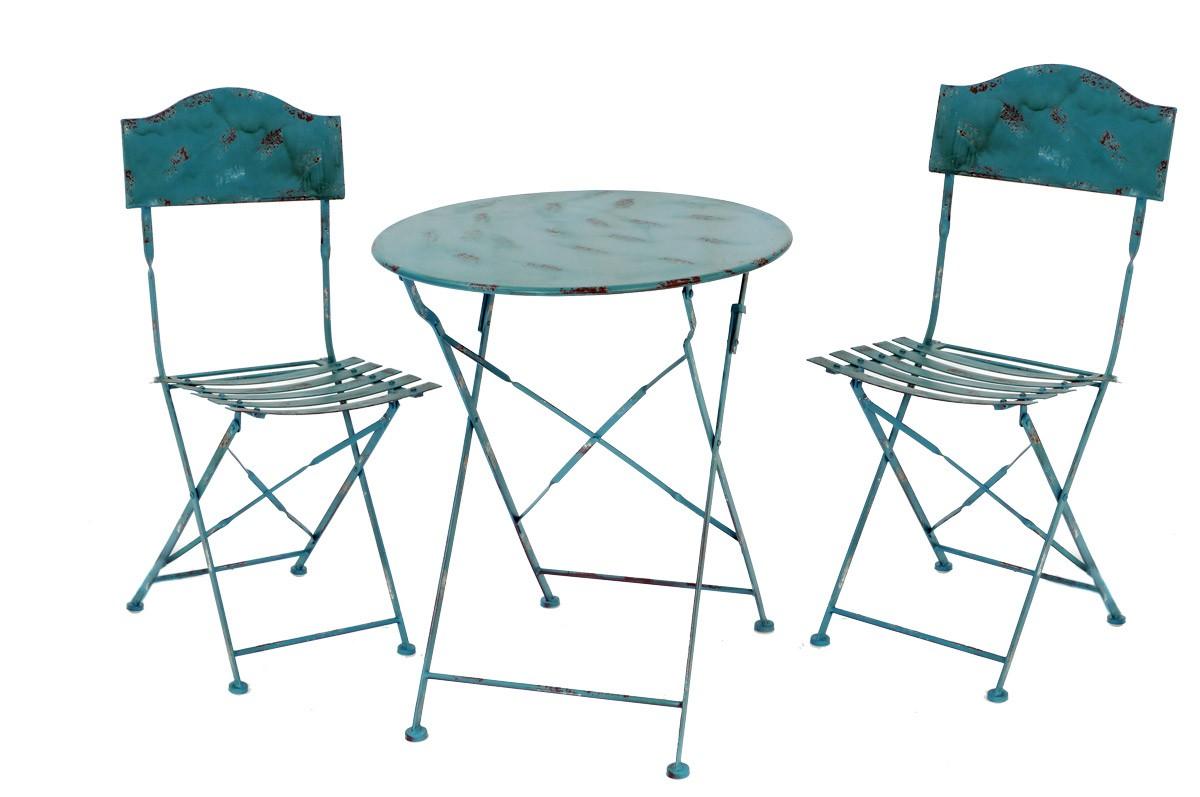 landhaus sitzgarnitur metall 1 tisch 2 st hle gartengarnitur set blau. Black Bedroom Furniture Sets. Home Design Ideas