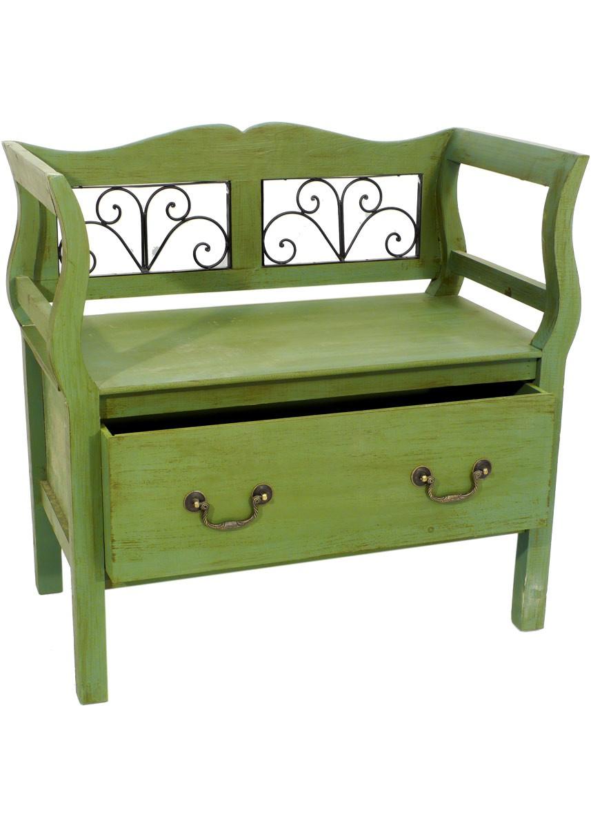 bank nostalgie mit schublade landhaus antik dekobank. Black Bedroom Furniture Sets. Home Design Ideas