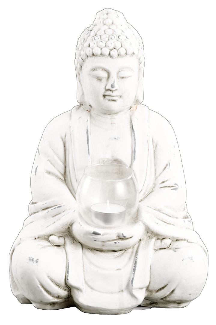 buddha sitzend mit teelichthalter shabby vintage terrakotta deko figur. Black Bedroom Furniture Sets. Home Design Ideas