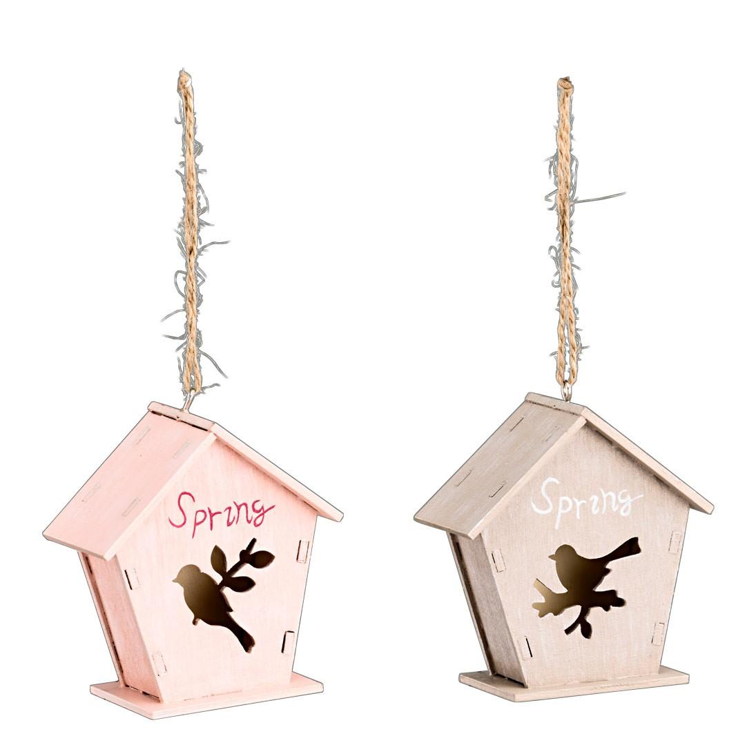 vogelhaus spring shabby landhaus deko h nger h 9cm in natur. Black Bedroom Furniture Sets. Home Design Ideas