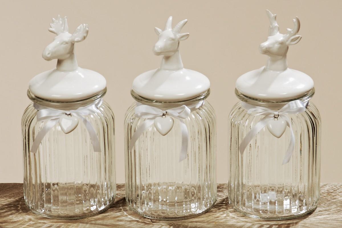 vorratsdose hirsch ziege elch aufbewahrungs glas dose mit porzellan deckel. Black Bedroom Furniture Sets. Home Design Ideas