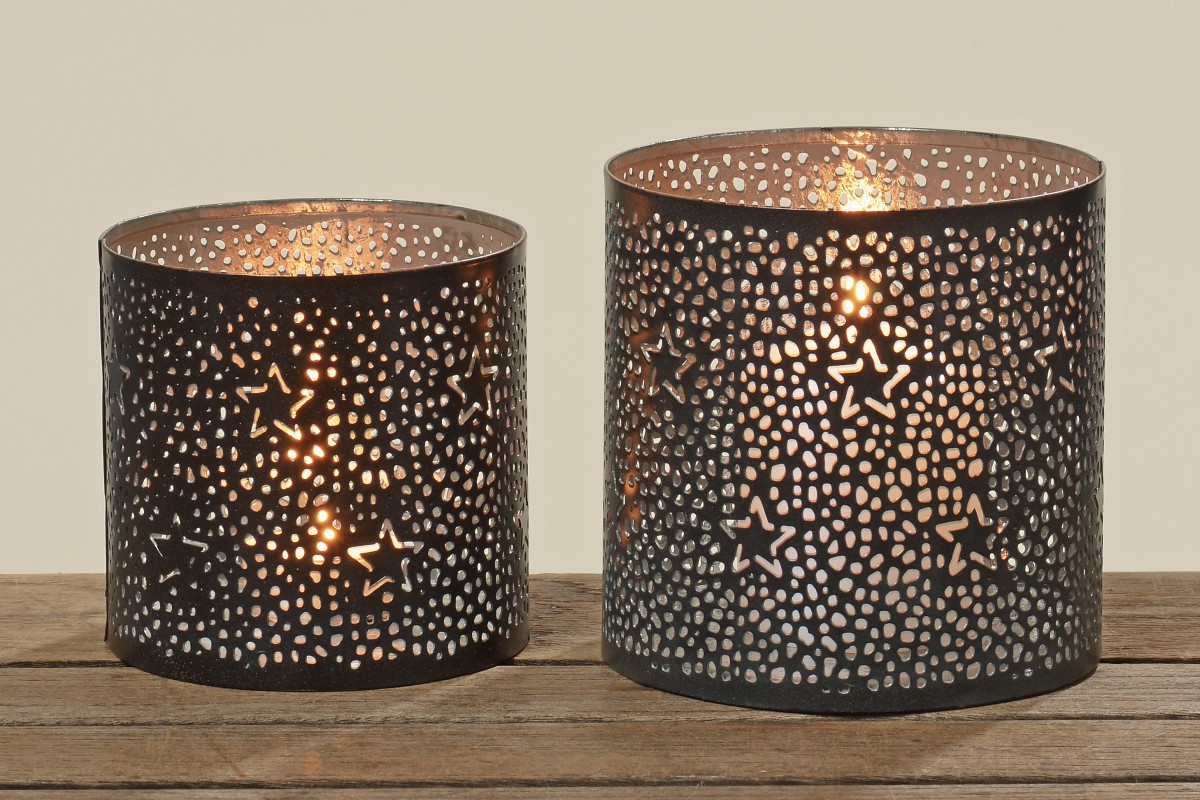 metall windlicht sterne teelichthalter kerzenhalter in schwarz. Black Bedroom Furniture Sets. Home Design Ideas