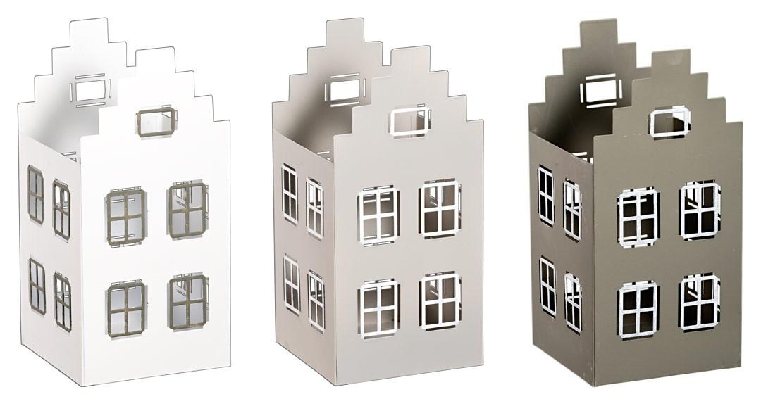 Metall windlicht haus offen in grau wei lichthaus for Haus aus metall
