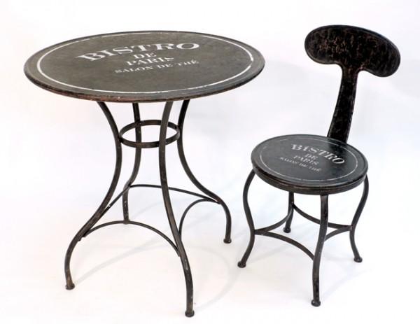 garnitur 1 tisch 2 st hle bistro de paris metall antikbraun shabby. Black Bedroom Furniture Sets. Home Design Ideas