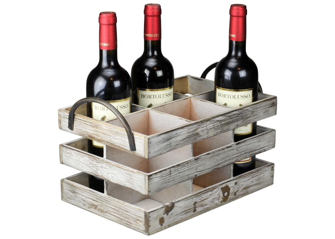 rustikaler flaschentr ger weinkiste aus holz mit metall griff landhaus ebay. Black Bedroom Furniture Sets. Home Design Ideas