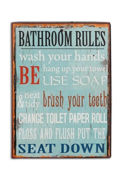 Vintage Metallschild Bathroom Rules