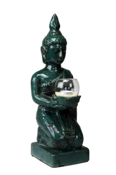 buddha figur skulptur gartenfigur dekofigur m windlicht gr n. Black Bedroom Furniture Sets. Home Design Ideas