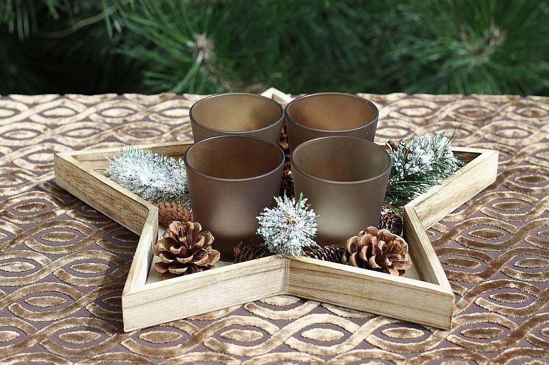 weihnachtliches teelichthalter set holz stern adventkranz. Black Bedroom Furniture Sets. Home Design Ideas