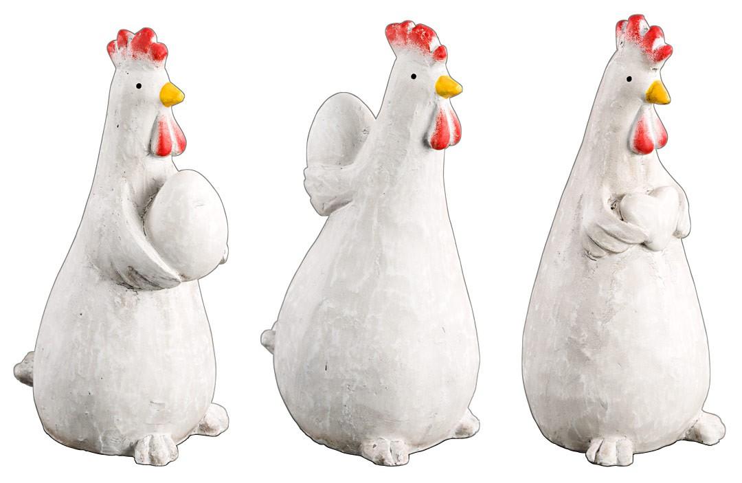 Vogeltränke deko figur huhn stehend pappmache deko objekt figur osterdeko 3er set