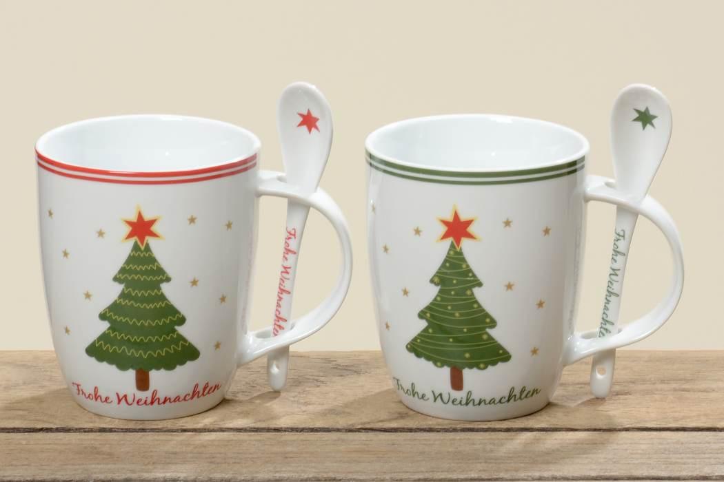 kaffeetasse frohe weihnachten porzellantasse mit l ffel 2er set. Black Bedroom Furniture Sets. Home Design Ideas