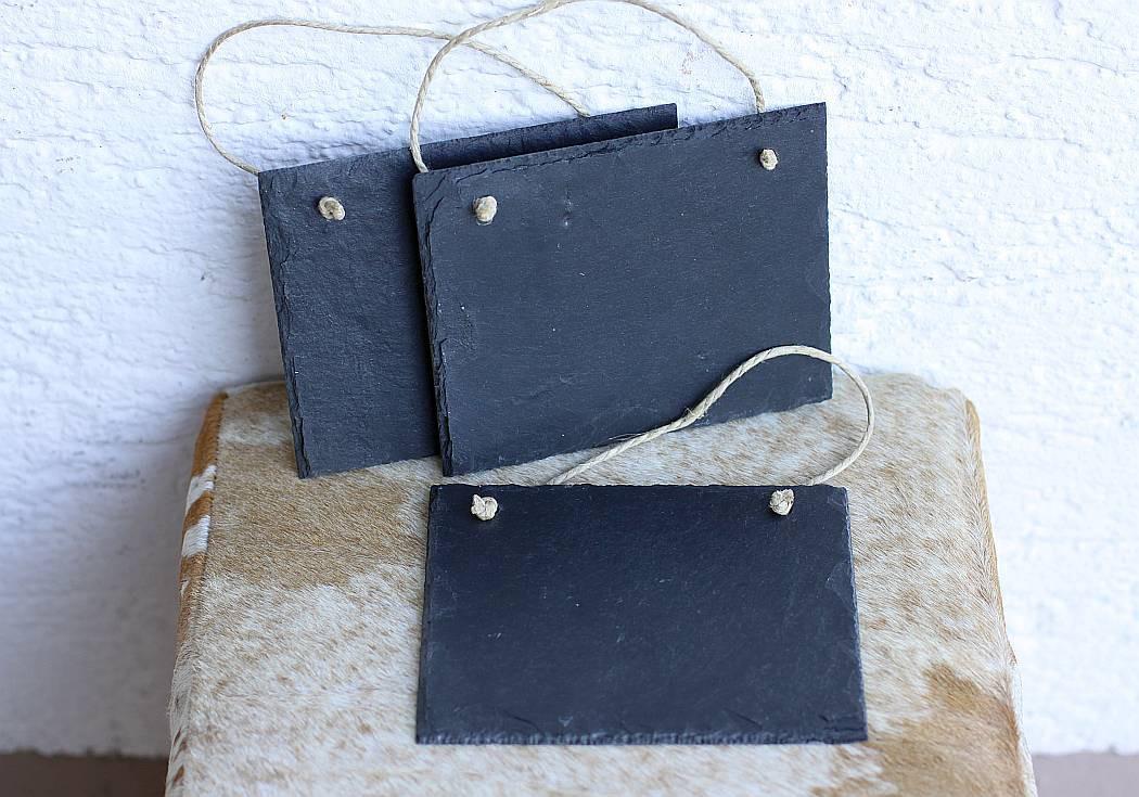 schiefertafel mit kordel zum selber beschriften wandbild schild 3er set. Black Bedroom Furniture Sets. Home Design Ideas