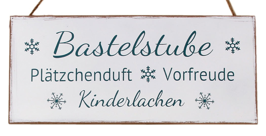 holzschild bastelstube shabby chic deko wandbild t rschild weiss. Black Bedroom Furniture Sets. Home Design Ideas