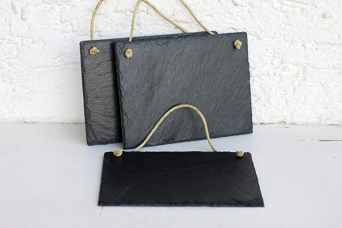 schiefertafel mit kordel zum selber beschriften 20x15 wandbild schild 3er set. Black Bedroom Furniture Sets. Home Design Ideas