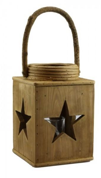 Holz Laterne Star Sternausschnitt Landhaus Antik