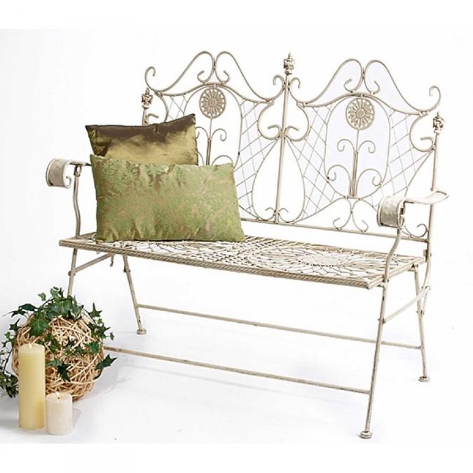 romantische gartenbank fiore metall antik wei. Black Bedroom Furniture Sets. Home Design Ideas