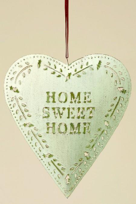 herz mit schrift home sweet home metallherz shabby chic. Black Bedroom Furniture Sets. Home Design Ideas