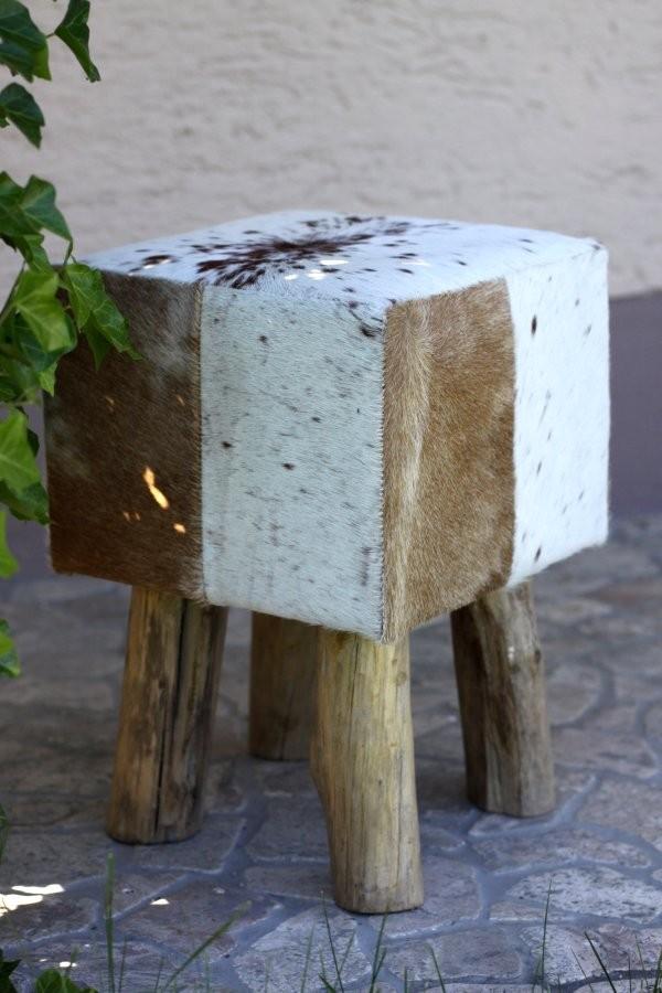 kuhfell hocker eckig braun weiss sitzhocker. Black Bedroom Furniture Sets. Home Design Ideas