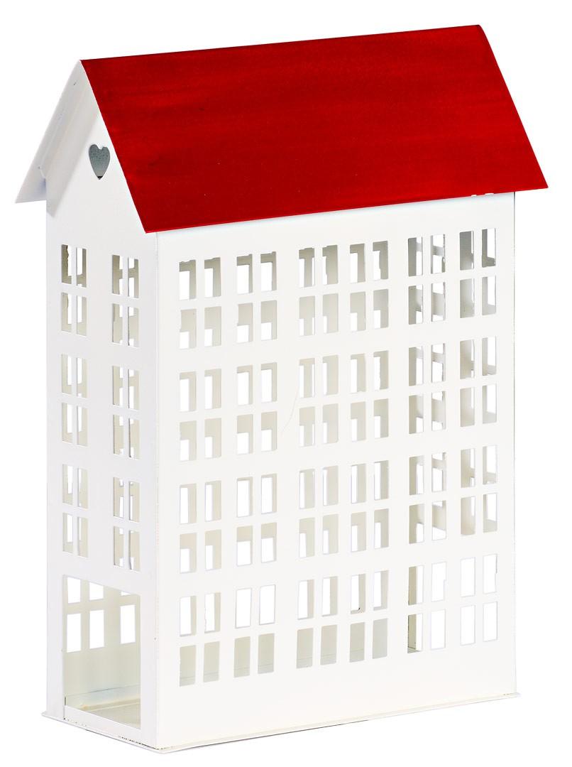 Lichthaus metall wei mit rotem dach windlicht haus h he 24cm for Modernes haus mit rotem dach