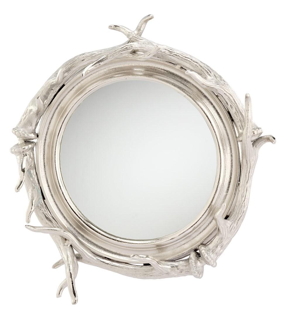 spiegel rund mit silbernen hirsch geweih 50x50cm. Black Bedroom Furniture Sets. Home Design Ideas