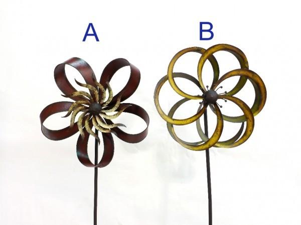 Windrad gartenstecker fleur metall h180cm for Gartenstecker metall