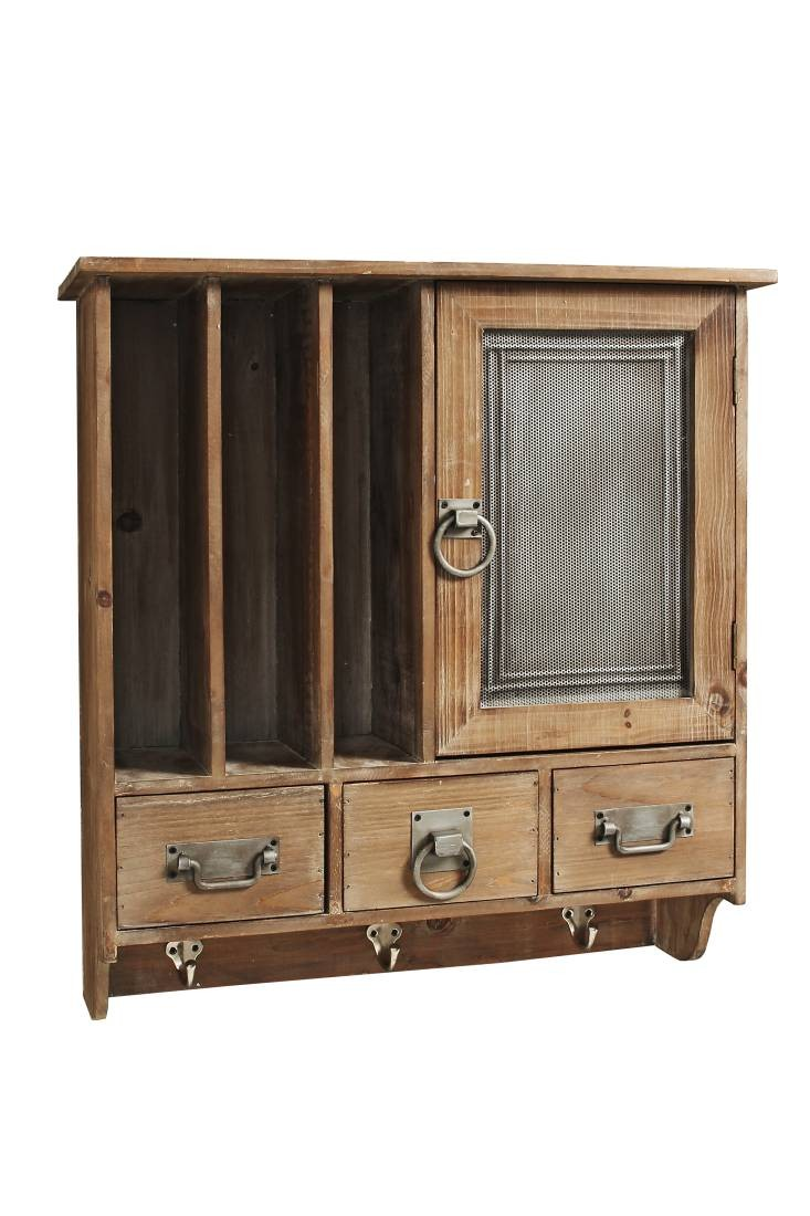 wandschrank regal milton holz braun mit 3 wandhaken im landhausstil. Black Bedroom Furniture Sets. Home Design Ideas