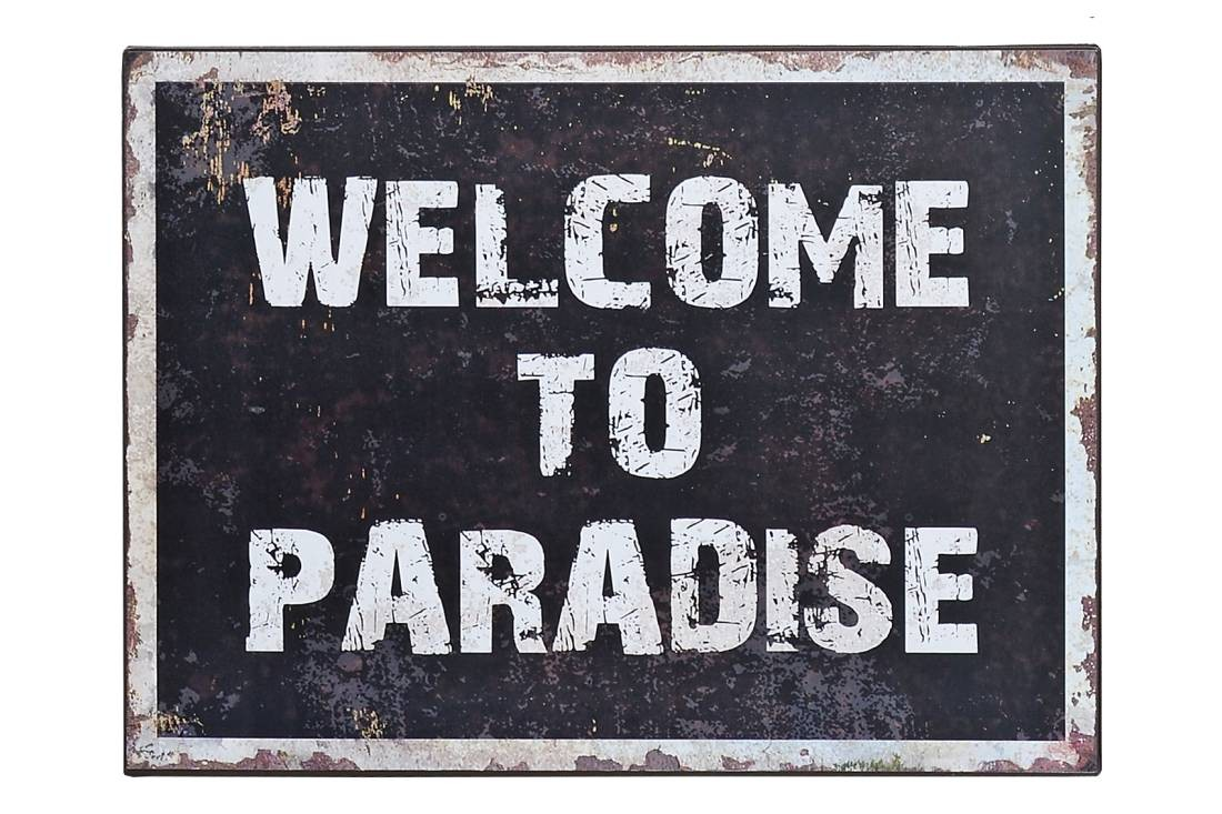 schild t rschild welcome to paradise shabby vintage blechschild. Black Bedroom Furniture Sets. Home Design Ideas