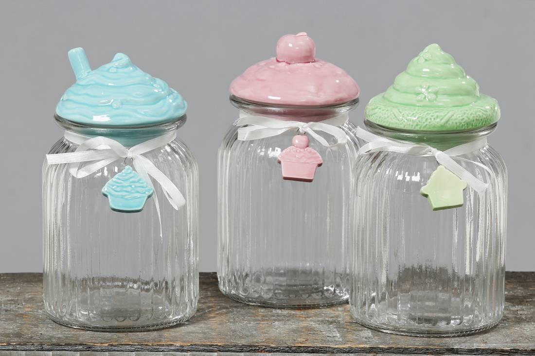 vorratsdose cupcake aufbewahrungs glas dose mit porzellan deckel. Black Bedroom Furniture Sets. Home Design Ideas