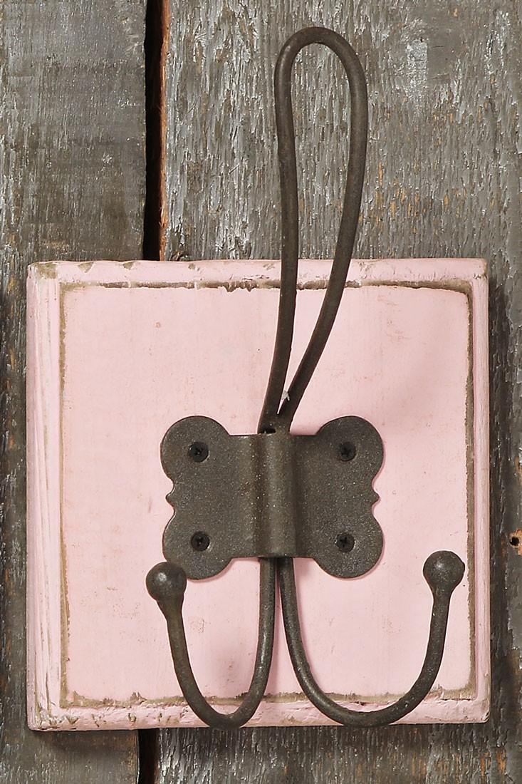 wandhaken pastell holz shabby landhaus mit metall haken 3er set. Black Bedroom Furniture Sets. Home Design Ideas