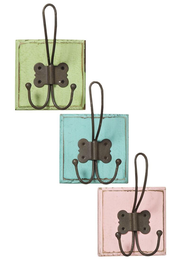 wandhaken pastell holz shabby landhaus mit metall haken. Black Bedroom Furniture Sets. Home Design Ideas