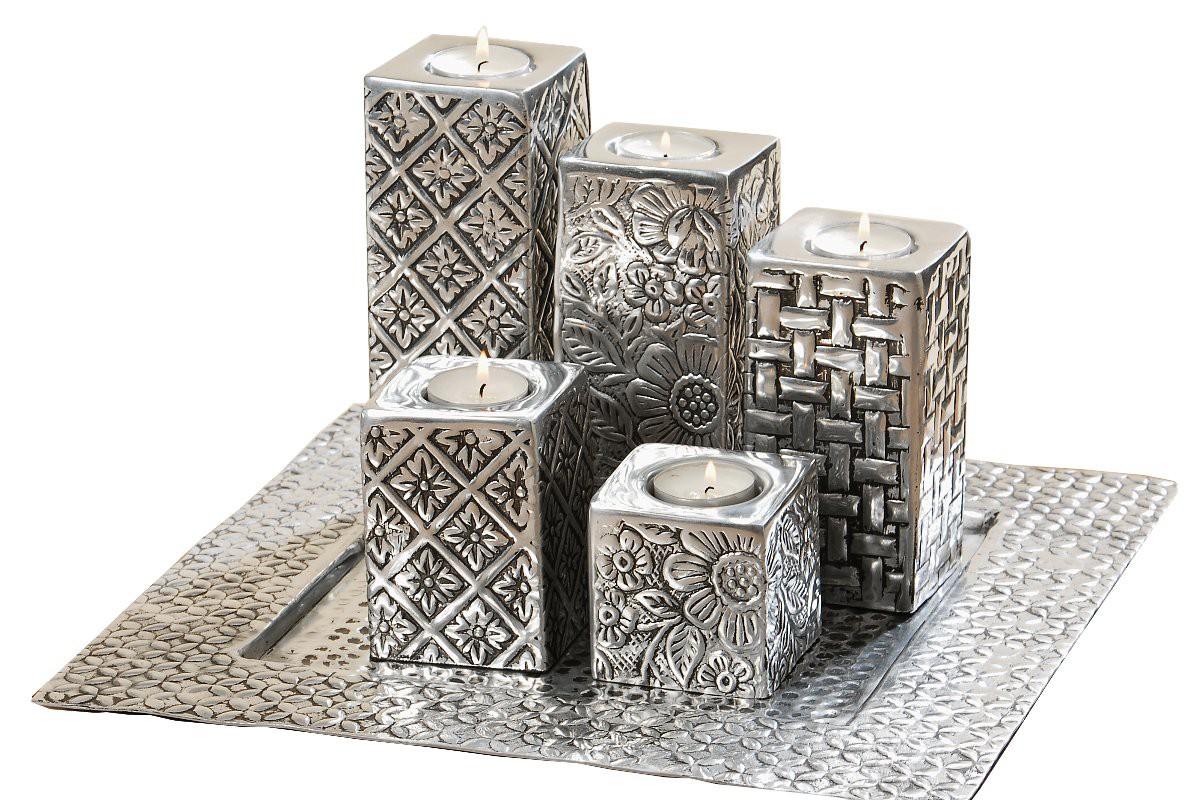 edles teelichthalter set 6tlg vintage aus aluminium in silber. Black Bedroom Furniture Sets. Home Design Ideas