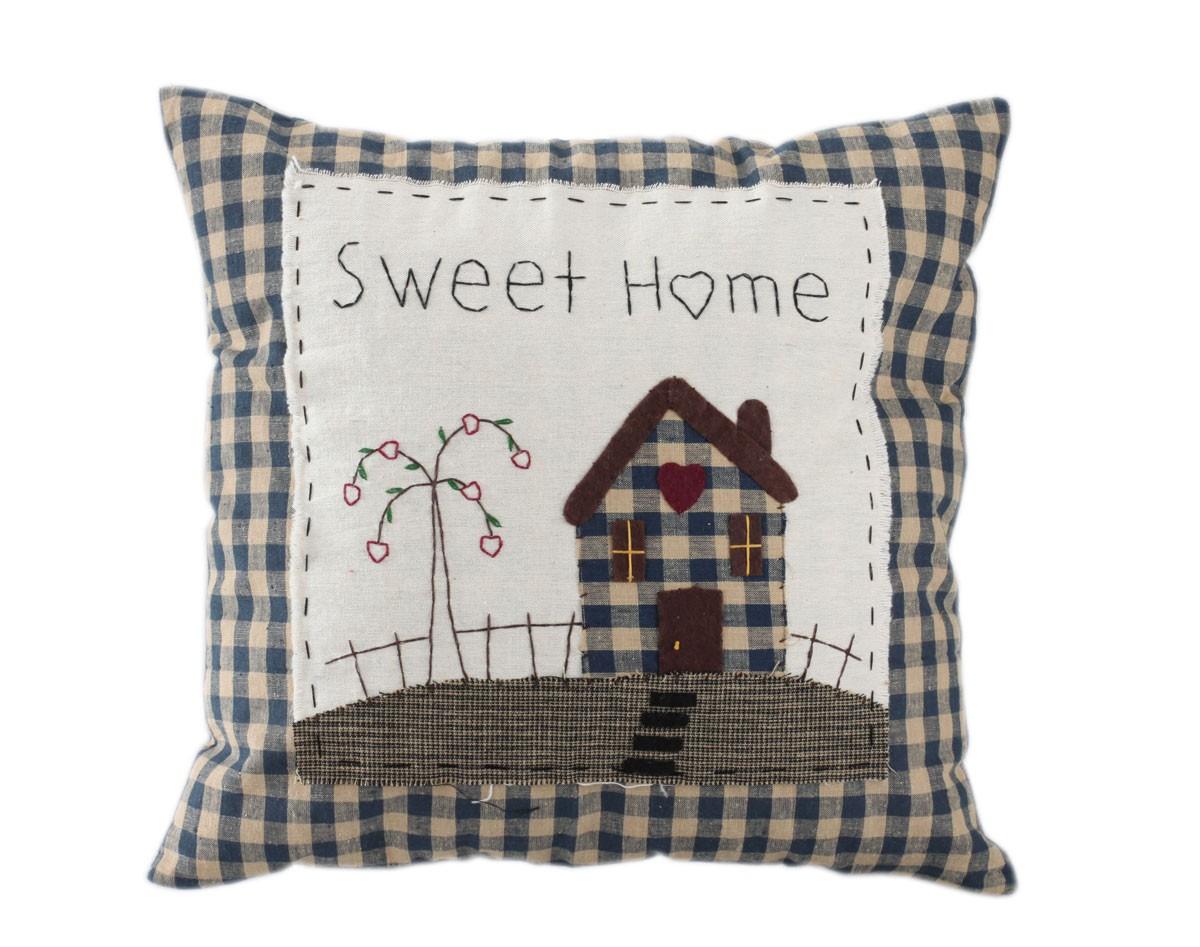 kissen sweet home handbestickt landhaus clayre eef dekokissen 40x40. Black Bedroom Furniture Sets. Home Design Ideas