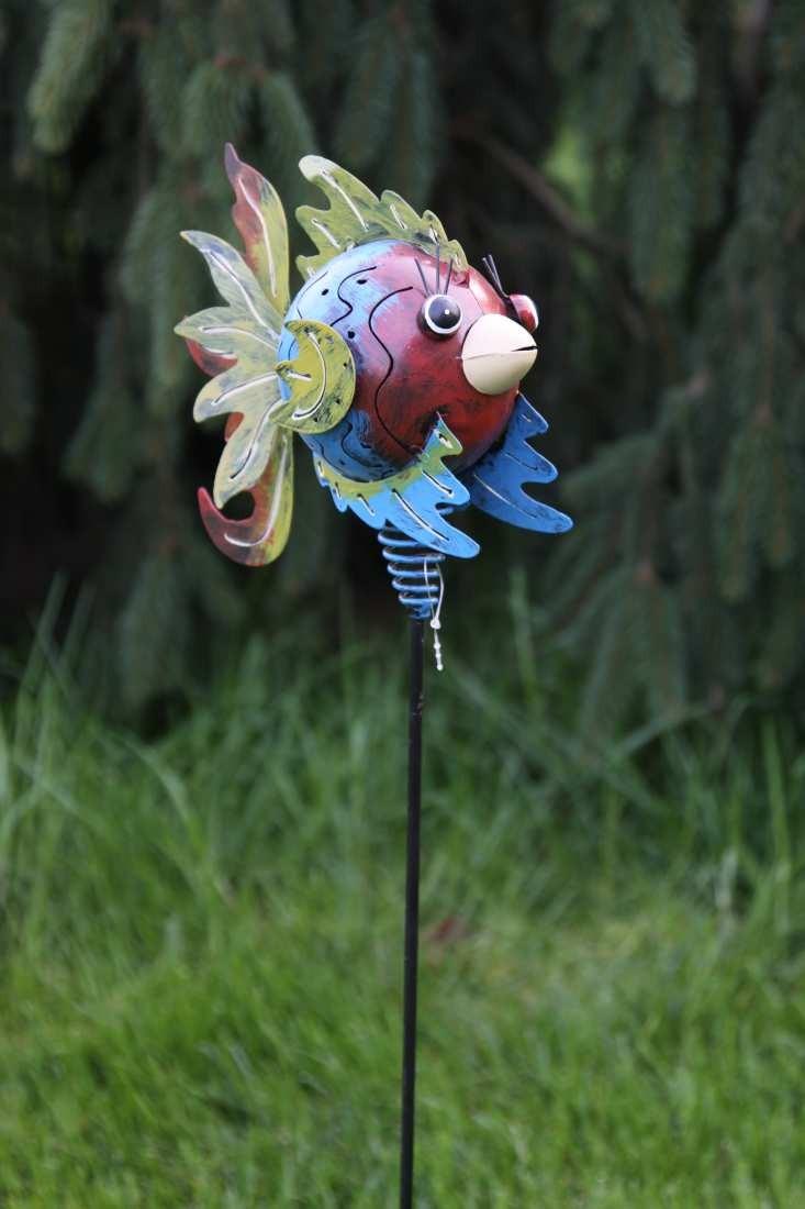 Gartenstab fisch figur aus metall gartenstecker schnabel creme for Gartenstecker metall