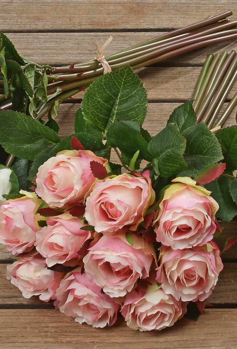 rosenstrau rosenbouquet aus kunststoff 10tlg deko strau in rosa. Black Bedroom Furniture Sets. Home Design Ideas