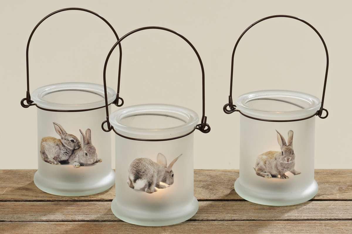 glas windlicht oster h schen teelichthalter mit hasenmotiv 3er set. Black Bedroom Furniture Sets. Home Design Ideas