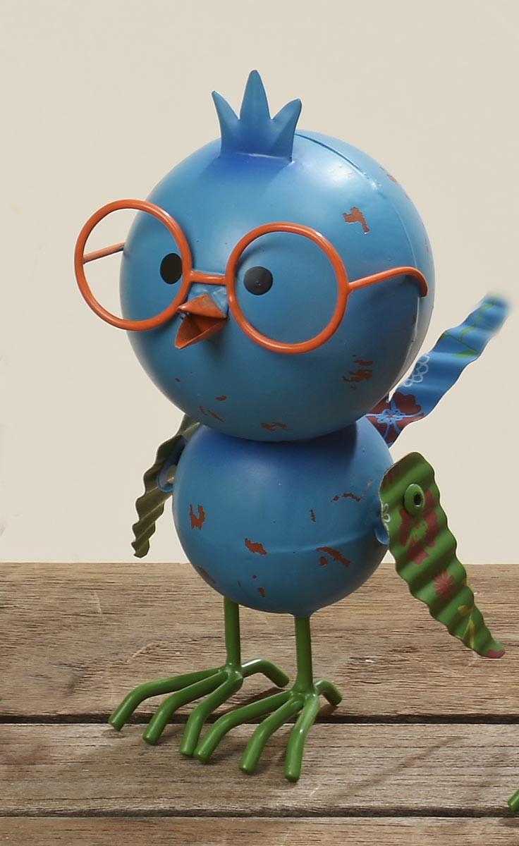 bunter deko vogel figur tweety mit brille h 17cm aus metall. Black Bedroom Furniture Sets. Home Design Ideas
