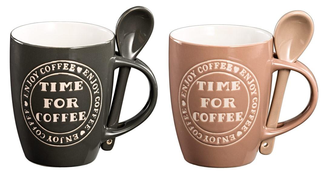 kaffeetasse time for coffee keramiktassen mit l ffel 2er set. Black Bedroom Furniture Sets. Home Design Ideas