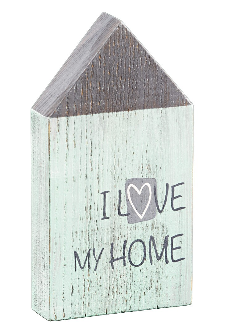 holzhaus love my home shabby landhaus deko figur aufsteller h 18cm. Black Bedroom Furniture Sets. Home Design Ideas
