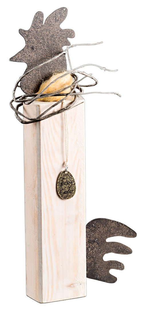 deko figur huhn aus holz und metall mit anh nger happy easter wei. Black Bedroom Furniture Sets. Home Design Ideas
