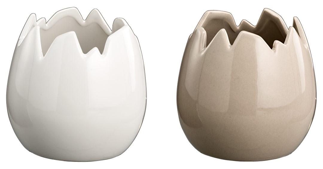 keramiktopf ei shabby landhaus deko pflanztopf in grau wei 2er set. Black Bedroom Furniture Sets. Home Design Ideas