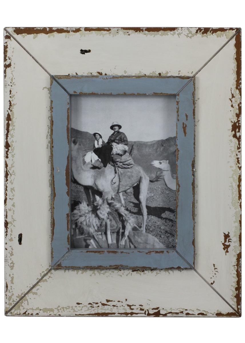 Bilderrahmen Holz Weis 40X40 ~ Bilderrahmen weiß  blau Shabby Vintage Fotorahmen Holz 25×30